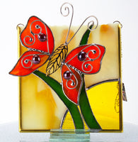 "Orange Butterfly Stained Glass Suncatcher 5.5"" x 6"""