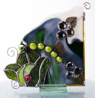 "Cabagefest Caterpillar Ladybug in Cabbage Garden Window Corner  6.6"" x 6.5"" Stained Glass"