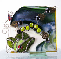 "Cabagefest Caterpillar Ladybug in Cabbage Garden Window Corner. 7"" x 6"" Stained Glass"