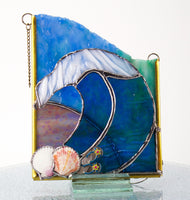 "Moon Wave Suncatcher Stained Glass  5.5"" x 6.5"""