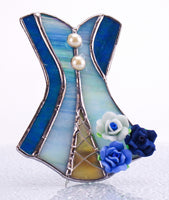 "Blue Victorian Corset Night Light with Auto Sensor. 3.5"" x 4.5"""