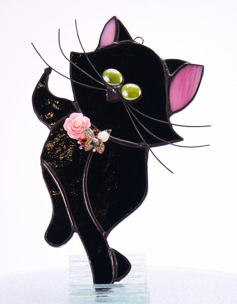 "Black Cat Stained Glass with Butterfly Suncatcher 4"" x 8"""