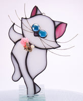 "White Cat with Butterfly  Stained Glass Suncatcher 4"" x 8"""
