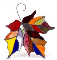 "Fall Maple Leaf Multi Color Stained Glass 10"" x 12"""