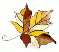 "Fall Maple Leaf Brown and Amber Stained Glass 10"" x 12"""