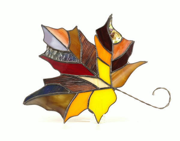 "Fall Maple Leaf Multi Color Stained Glass 8"" x 9"""