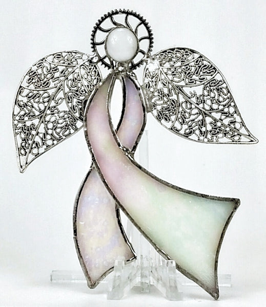 "Ribbon Angel - Iridescent White and Pink Stained Glass  4"" x 5"""