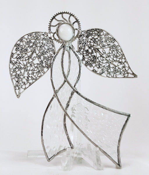 "Ribbon Angel - Textured Clear Stained Glass 4"" x 5"""