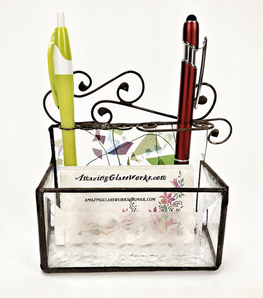 Business Card and Pen Holder with Muli Color Stained Glass