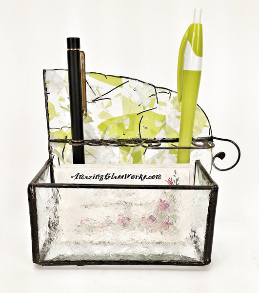 Business Card and Pen Holder with Lime Green and White Stained Glass