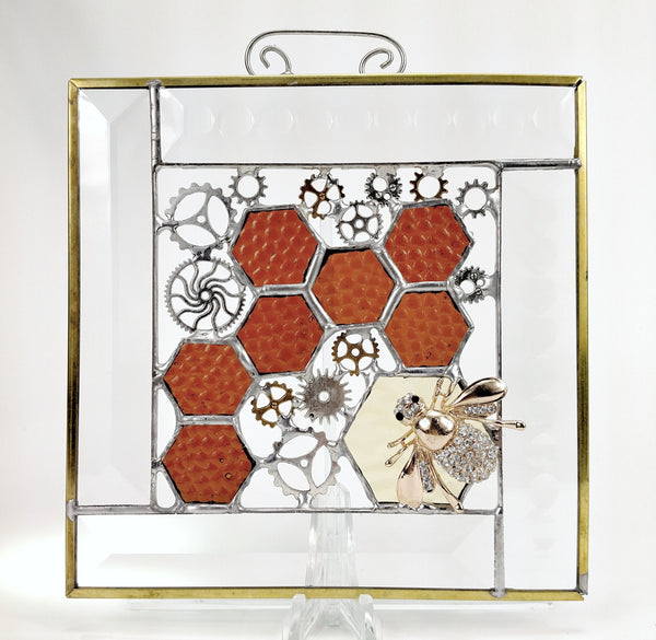 "Honey Time Bees with Cogs and Amber Stained Glass Steampunk 6"" x 6"""