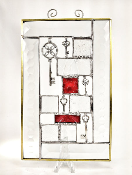 "Clear and Red Steampunk Stained Glass Suncatcher 5"" x 8"""