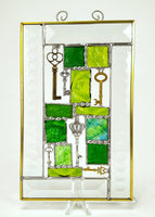 "Green Steampunk Stained Glass Suncatcher 5"" x 8"""