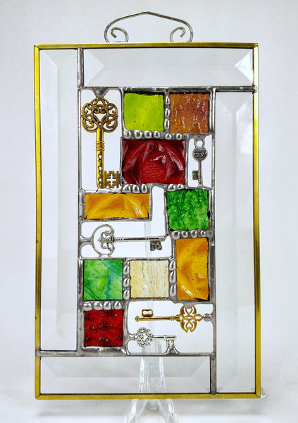 "Red, Amber and Green Steampunk Suncatcher 5"" x 8"""