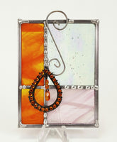 "Gift Orange Pink Stained Glass Suncatcher 4"" x 4"""
