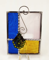 "Gift Blue Amber Leaf Stained Glass Suncatcher 4"" x 4"""