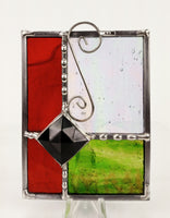 "Gift Red Green w/ Black Jewel Stained Glass Suncatcher 4"" x 4"""