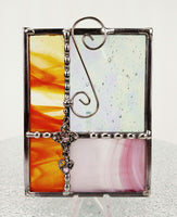 "Gift Orange Pink w/ Pink Jewel Stained Glass Suncatcher 4"" x 4"""