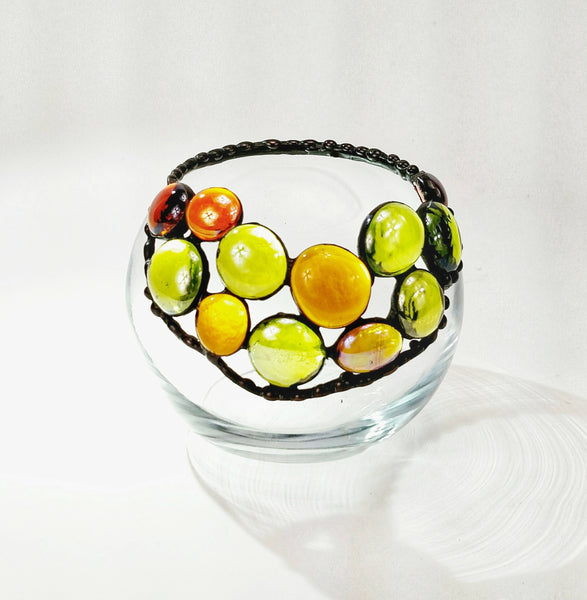 "Tealight Votive with amber and green Nuggets 4"" x 4"""