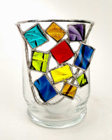 "Tealight Votive with multi colored stained glass  4"" x 4"" x 6"""