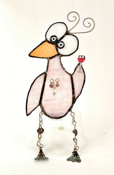 "Whimsical Pink Stained glass bird with wine glass 4"" x 6"""