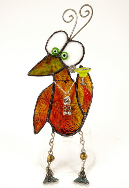"Whimsical Amber Red Stained Glass Bird with Margarita glass 4"" x 6"""