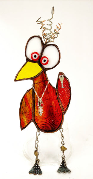 "Whimsical Amber Red Stained Glass Bird with wine glass 4"" x 6"""