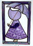 "Sun Bonnet Sue Stained Glass Suncatcher with Umbrella 6"" x 9"" - Purple"