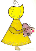 "Sun Bonnet Sue Stained Glass Suncatcher 5"" x 7"" - Yellow with pink heart"