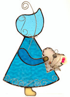 "Sun Bonnet Sue Stained Glass Suncatcher 5"" x 7"" - Blue with white heart"