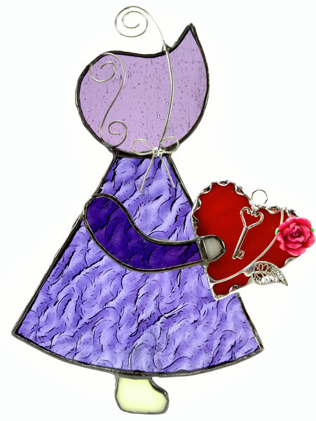 "Sun Bonnet Sue Stained Glass Suncatcher 5"" x 7"" - Purple with red heart"
