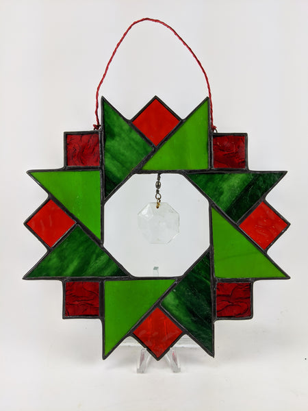 "Christmas Wreath - Quilt Style Red and Green 7"" x 7"""