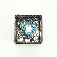 "Ring Box  3"" x 3"" - Blue with Jewel"