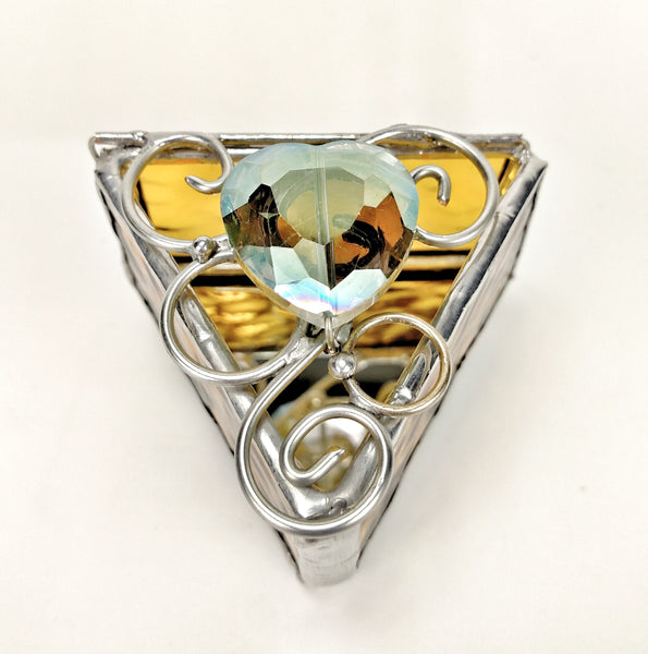 "Triangle Ring Box 1.5 "" - Amber with Jewel"