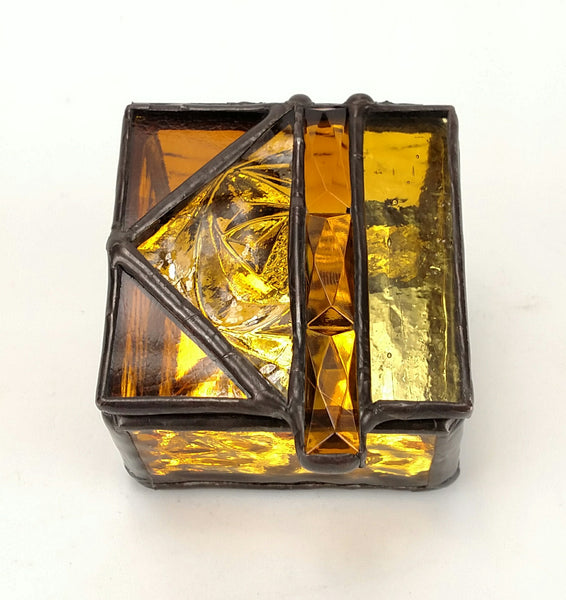 "Ring Box 3"" x 3"" Amber with Jewel"