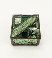 "Ring Box  3"" x 3"" Sea Green with jewel"