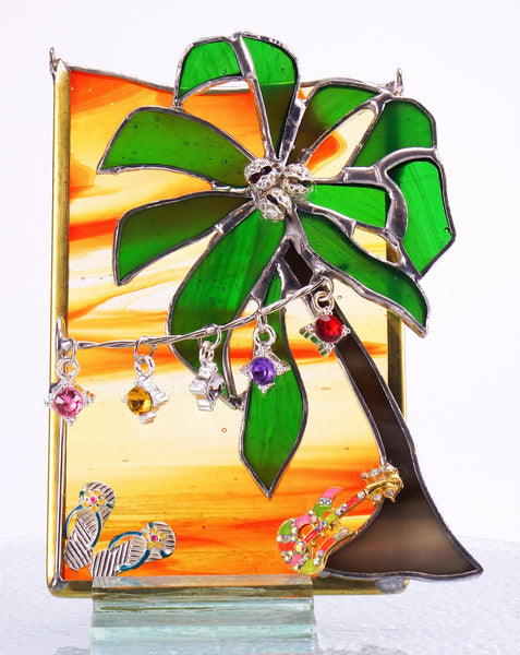 "Margaritaville Orange Stained Glass Suncatcher 4"" x 5.5"""