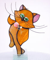 "Tabby Butterfly Cat Stained Glass Suncatcher 4"" x 8"""