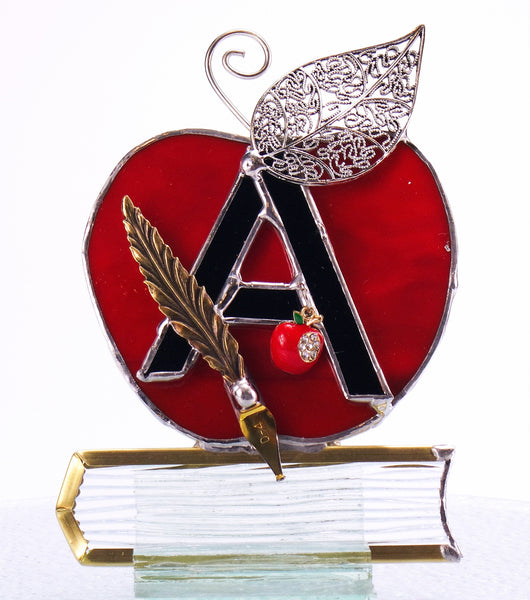 "Teacher's Apple Graduation Gift Stained Glass Suncatcher 4"" x 5"""