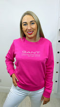 GANT Logo Crew Neck Sweatshirt-Hot Pink