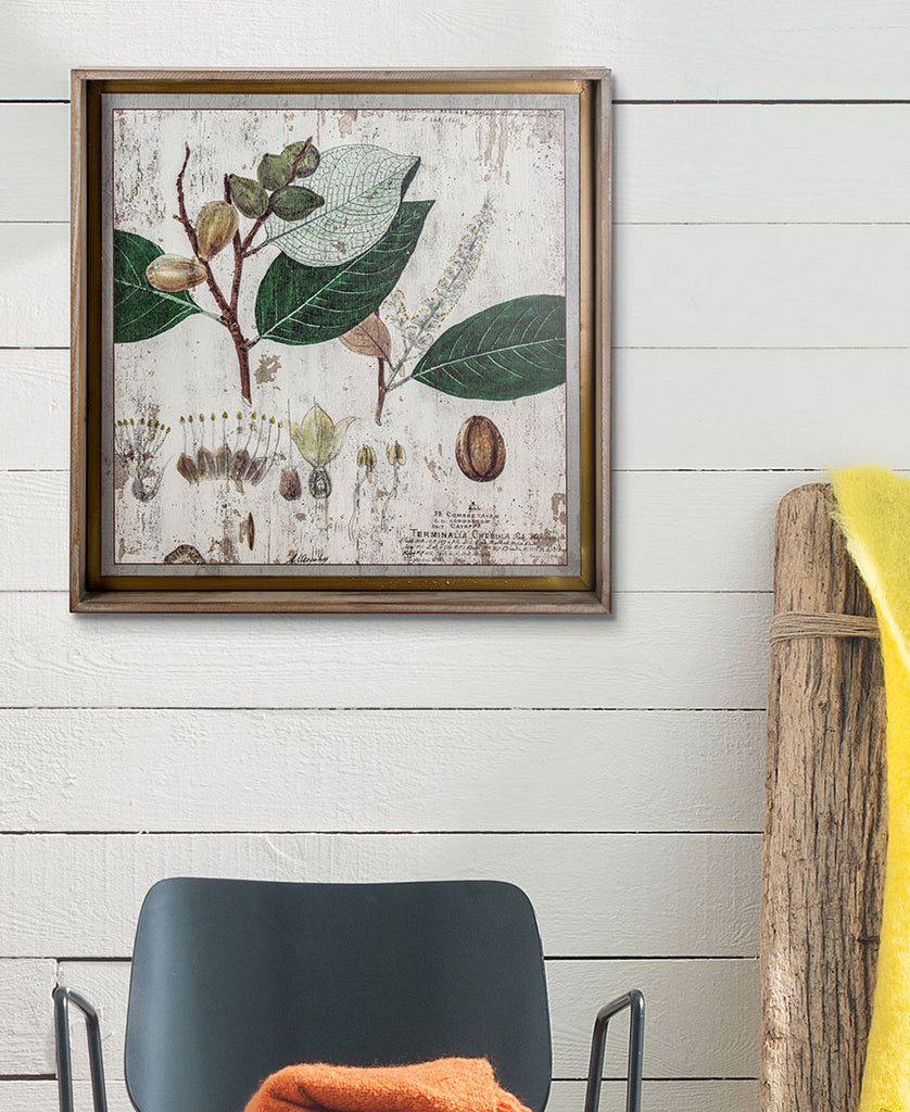 Leaves Print on Wood Framed
