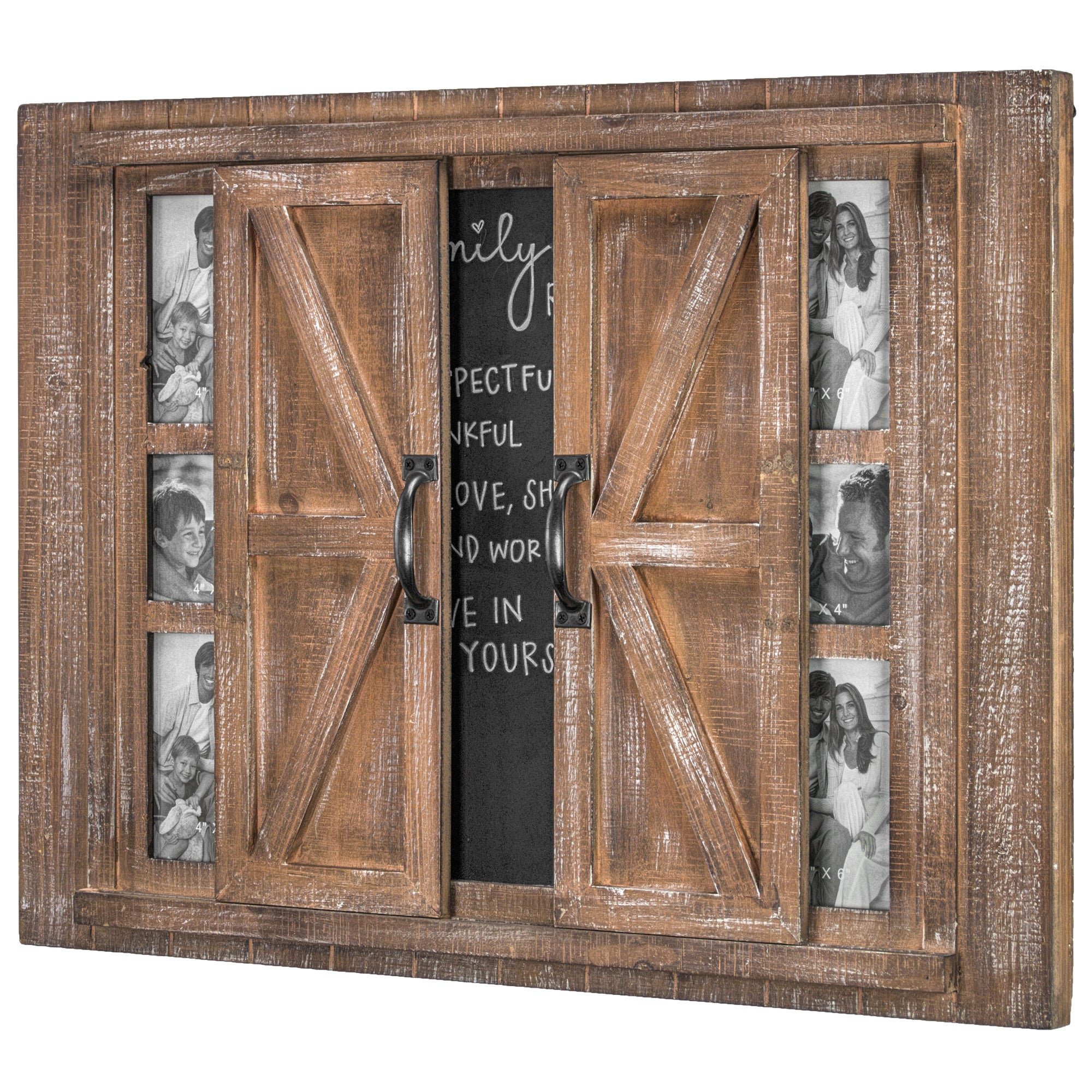 barn door photo frame and chalkboard