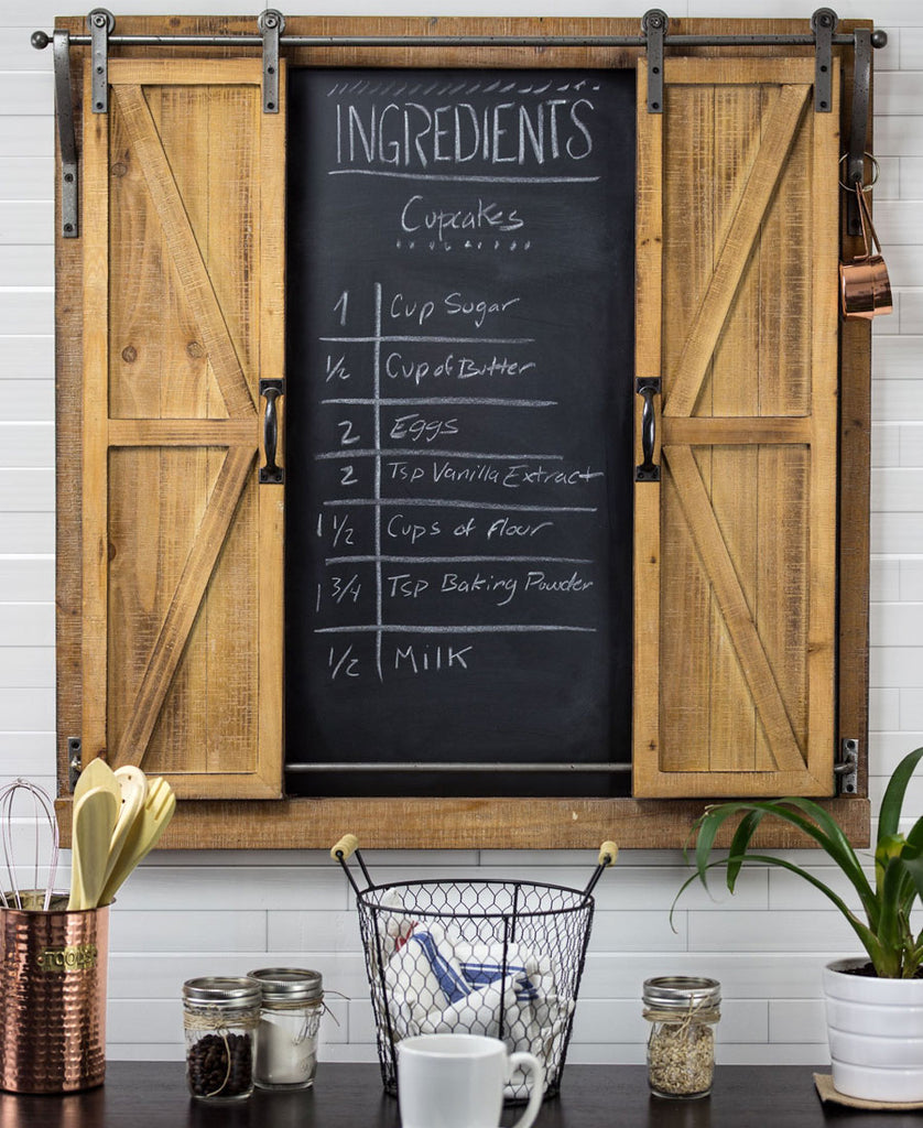 barn door chalkboard