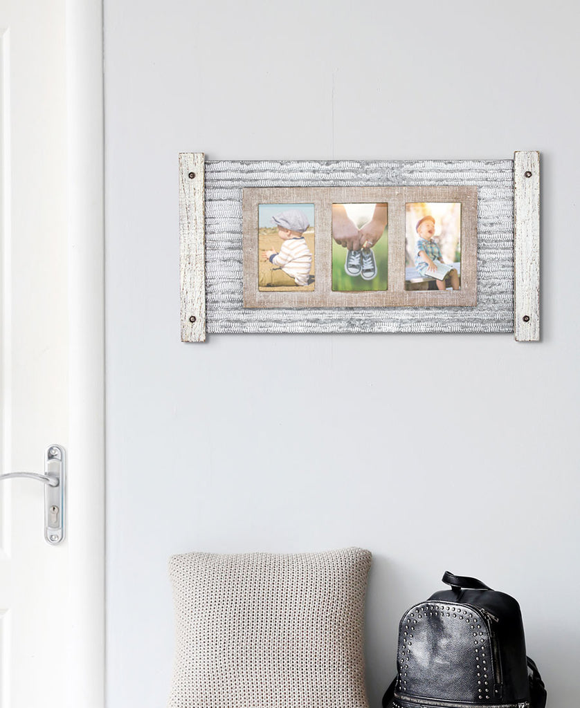 Metal and Wood Framed 3 Picture Wall Holder