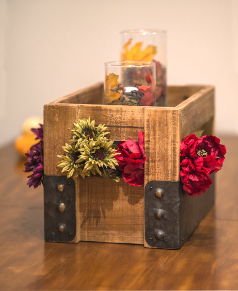 Wood and Metal Crate with Flowers and Candles