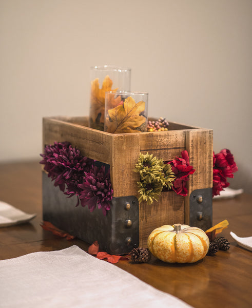 Wood and Metal Crate with Flowers, Candles and Pumpkins