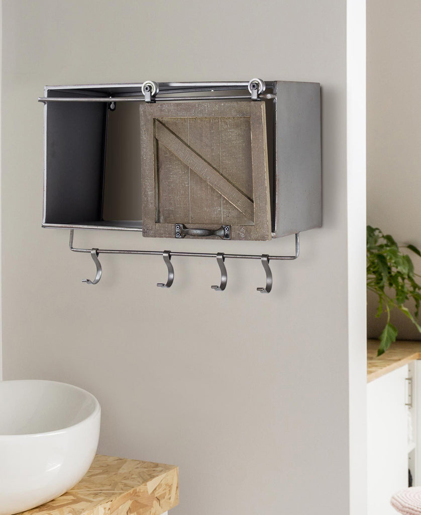 Metal Wall Shelf with Sliding Wood Barn Door and Sliding Hooks
