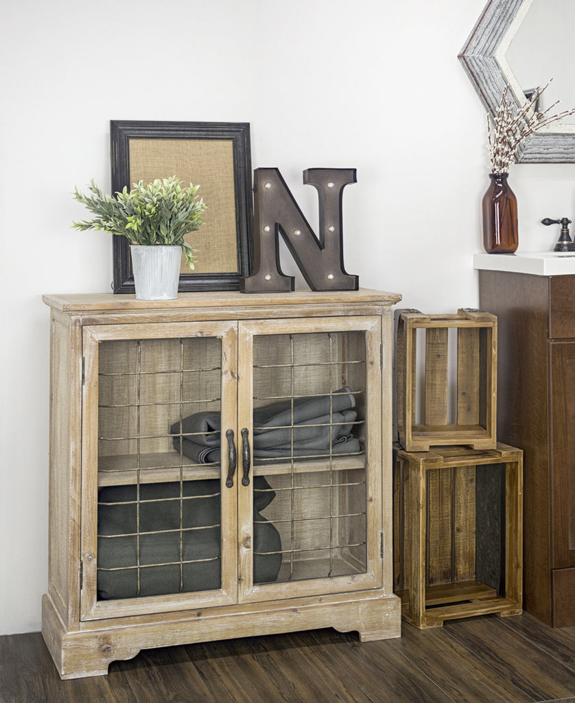 Rustic Wood Cabinet with Cage Doors
