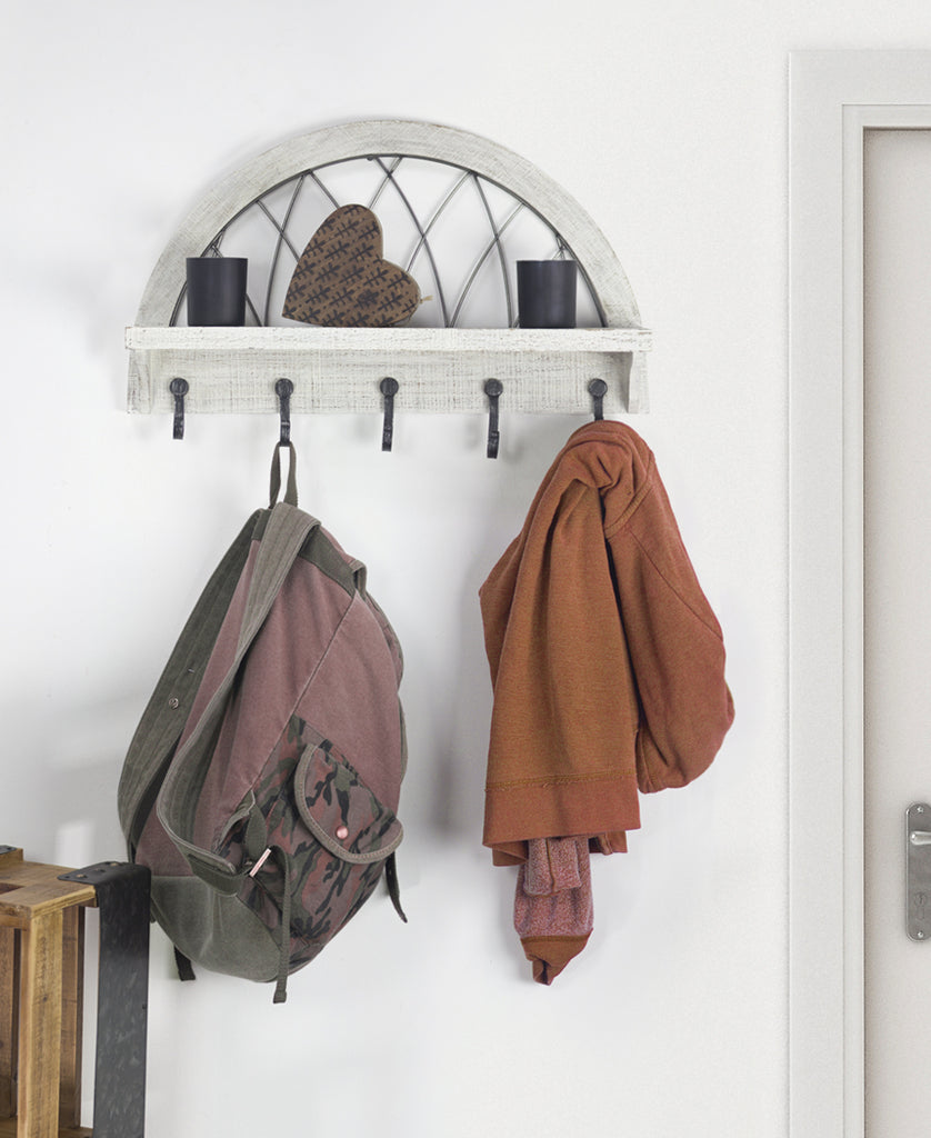 Hanging Whitewash Coat Rack Self