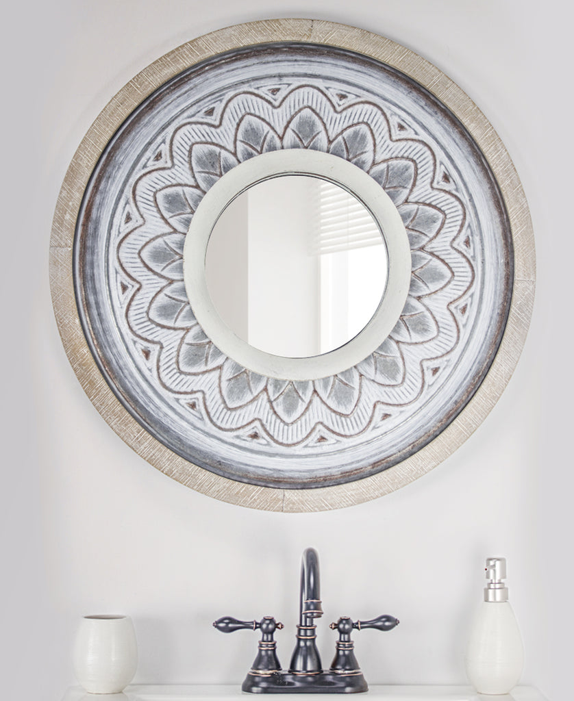 Whitewash Wall Mirror Wood and Metal